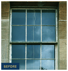 picture of before a sash & case window renovation in Edinburgh